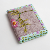Grey wool felt A7 notebook with hand embroidered dog rose