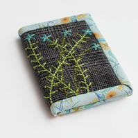 Grey checked fabric A7 notebook with hand embroidered forget-me-not