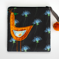 Black thistle make up bag with orange velvet appliquéd bird