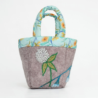 Tiny grey felt bag with clover and bluebell embroidery