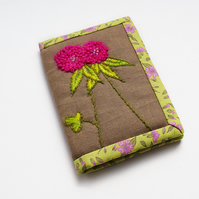 Brown linen A7 notebook with hand embroidered pink clover