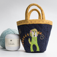 Navy bijou project bag with hand embroidered dog and fern