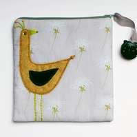 Pale grey thistle make up bag with mustard felt appliqué bird