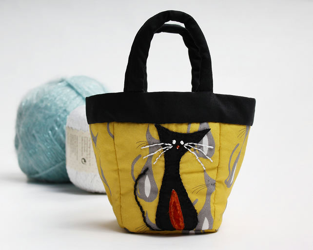 Tiny yellow bag with cat print and cat appliqué folksy