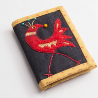 Blue denim A7 notebook with hand embroidered cockerel