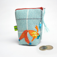 Aqua check coin purse with fish embroidery