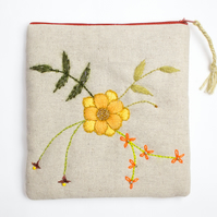 Oatmeal linen make up bag with hand embroidered Suzie design