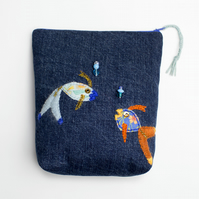 Blue denim make up bag with hand embroidered fish