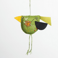 Green coloured hand embroidered bird-shaped hanging decoration called Big Chixy