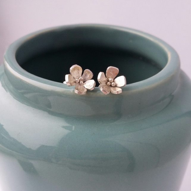 Silver Flower Earrings - Handcrafted