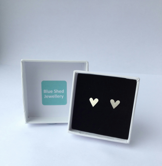 Small Silver Heart Earrings - Handcrafted