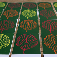 Hand printed Leaf Card