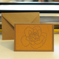 Hand printed Rose Card