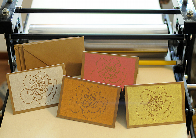 Selection of four hand printed Rose Cards
