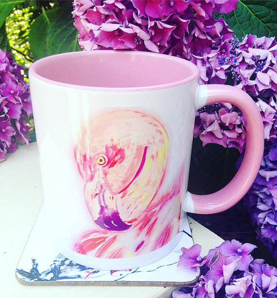 Flamingo Mug, Pink Inside and Handle, Flamingo Illustration Mug, Gift for Her