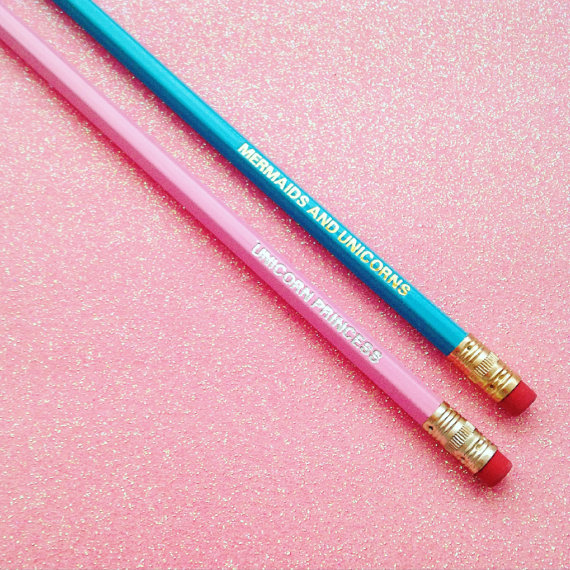 ENGRAVED PENCILS, MERMAIDS AND UNICORNS, UNICORN PRINCESS, GIFT FOR HER,