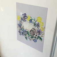 Floral Guinea Pig Fridge Magnet, Nature, Art