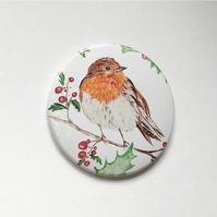 Large Christmas Robin Badge 3inch