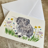 Grey Guinea Pig Card Blank Inside