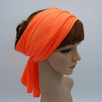 Orange head scarf, long self tie hair scarf, stretchy headband, hair bandanna