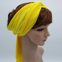 Long yellow headband, stretchy hair tie, hair wrap, head wrap, head scarf
