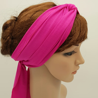 Pink headband, long head scarf, self tie hair scarf, stretchy hair wrap