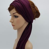 Viscose jersey hair scarf, wide head scarf, stretchy head wrap, hair wrap