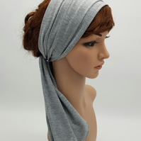 Grey headband, self tie headscarf, stretchy hair wrap, head wrap, hair tie