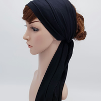 Black headscarf, wide headband, self tie hair wrap, stretchy head wrap, bandanna