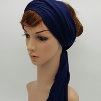 Navy blue stretchy head wrap for women, long headband, wide hair wrap