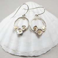 Butter cup and daisy circular drop earrings