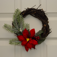 Small Christmas Wreath with Poinsettia