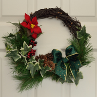 Vine Wreath with Ivy, Poinsettia and Pine Cones