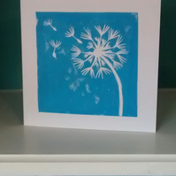 Hand printed linocut dandelion clock greetings card blank