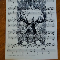 Vintage stag print on vintage music sheet in black