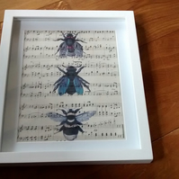 Vintage bees print on vintage music sheet