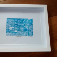 Handprinted linocut custom print of your house