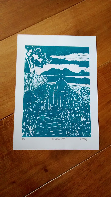 "Lino cut print ""Canalside Walk"" limited edition - christmas gift"