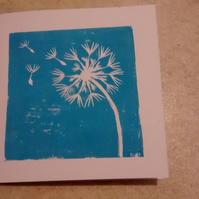 Hand printed linocut dandelion clock greetings cards set of six - blank