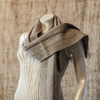 Pure Wool Scarf in mixed Browns