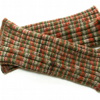 Knitted Leg Warmers in Grey, Green and Orange British Wool