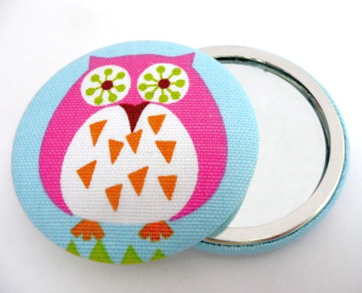 Owl Fabric Handbag Mirror & Organza Bag