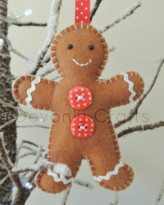 Gingerbread Man Felt Hanging Decoration x1 - Folksy