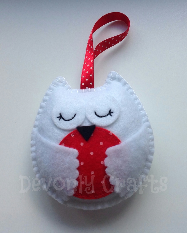 Christmas Snowy Owl Felt Decoration, Ornament