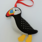 Puffin Bird Felt Hanging Decoration Christmas - Made in Cornwall