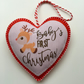 Baby's First Christmas Heart Felt Hanging Decoration - Handmade in Cornwall