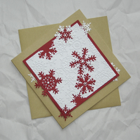 Red Flurry - Handcrafted Christmas Card - dr15-0008