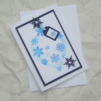 Blue Bauble - Handcrafted Christmas Card - dr15-0009