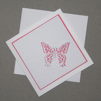 Pink Wings - Handcrafted (blank) Card - dr15-0004