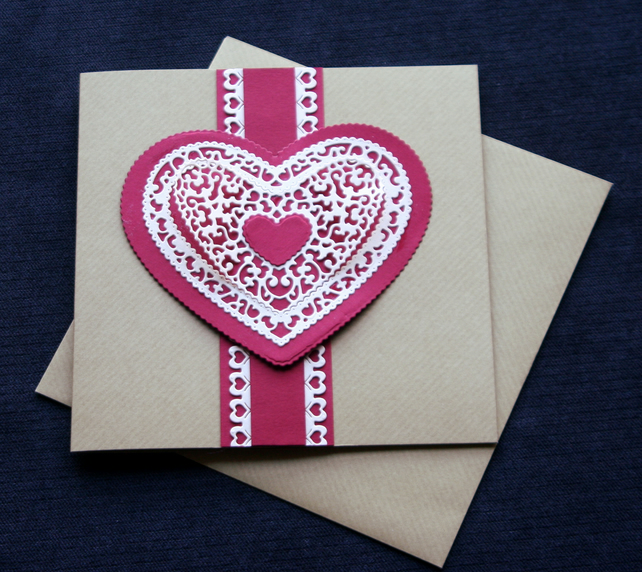 Red Lacy Heart - Handcrafted Valentines or Anniversary Card - dr16-0021